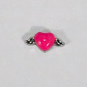 Origami Owl Pink Heart with Silver Angel Wings